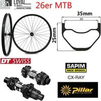 Dt swiss 350 hub série 26er mountain bike carbono roda sem câmara pronta mtb rodado 35mm * 25mm para xc am chinês|Roda de bicicleta| |  -