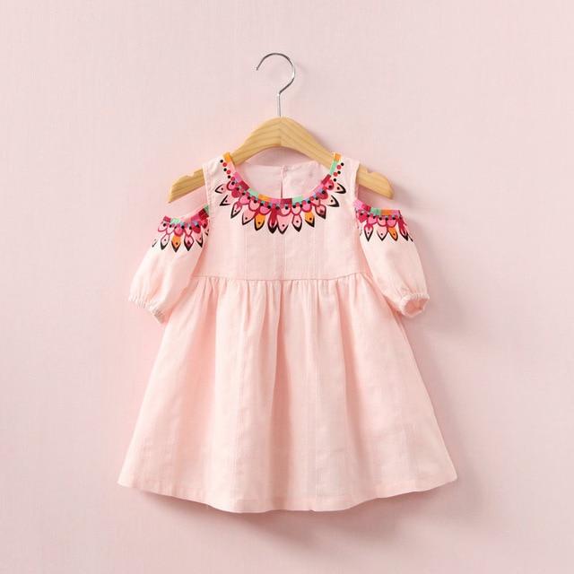 8b2cf66a7d7e Off Shoulder Design Baby Girl Summer Dress Cute Print Children ...