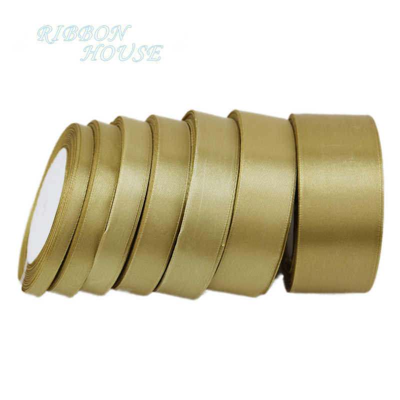 (25 yards/roll) pale gold Single Face Satin Ribbon Wholesale Gift Wrapping Christmas ribbons
