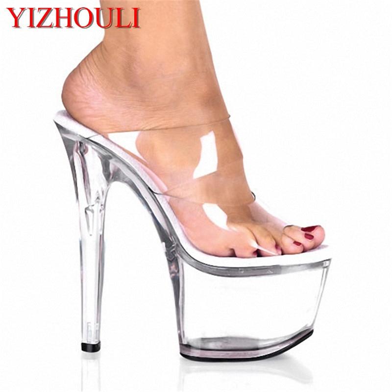 Pantoufles Cristal Qualité Ultra Femelle Hauts Fait Haute Professionnels formes Transparent Chaussures Pouce 7 Clair Plates 17 Des Talons Par Cm ZWqqBxR1n