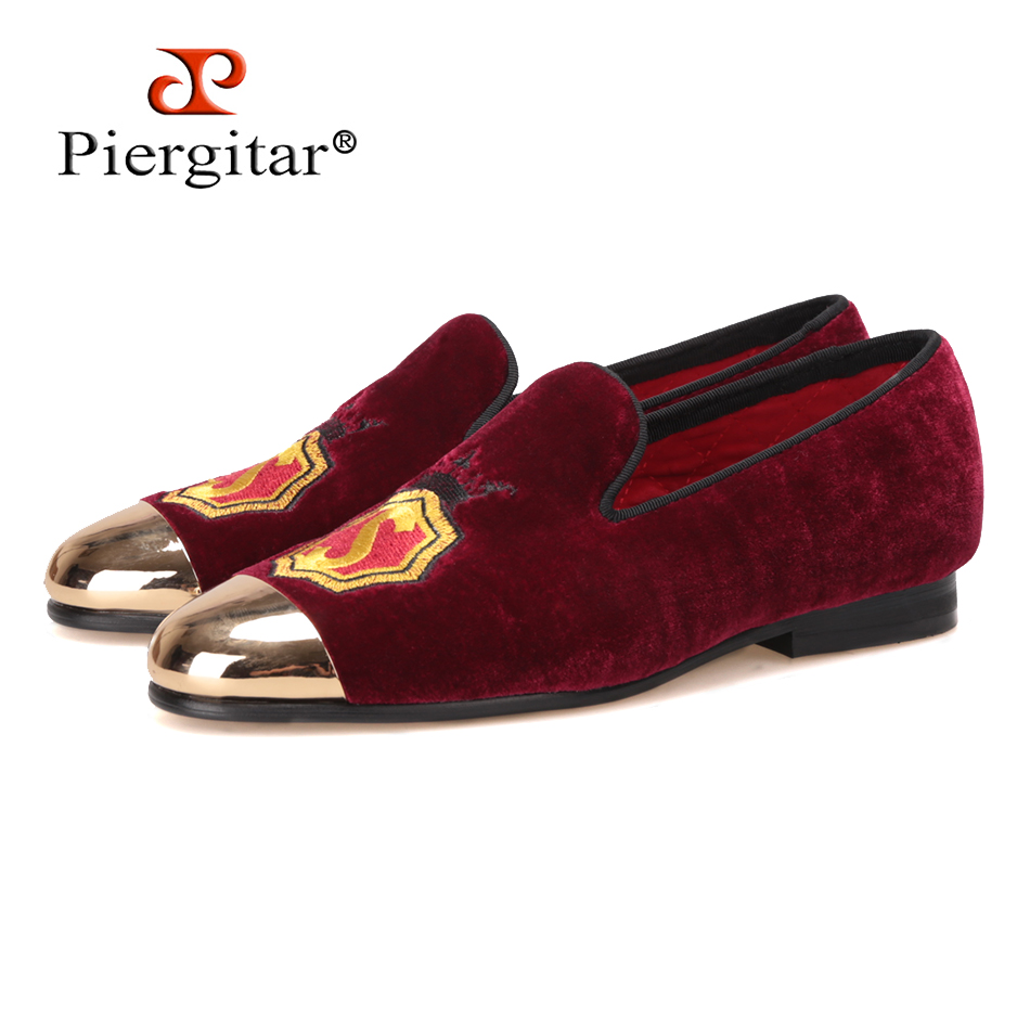 NEW Piergitar handmade women velvet shoes with gold metal toe and applique wine red color prom and banquet Loafers women's flats fever opaque hold ups with red bows and cross applique чулки для медсестры
