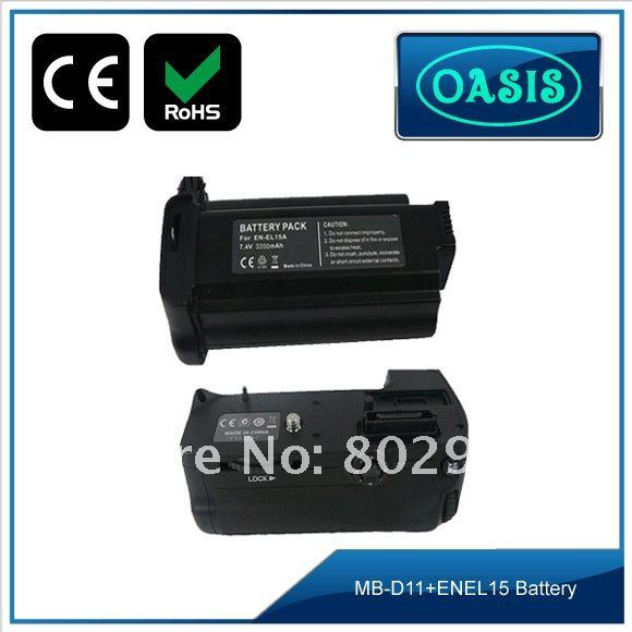 MB-D11 battery grip 1pc +1pc ENEL15 /ENEL15A BATTERY PACK,as ONE LOT, for NIKON D7000,EU Standard Charger.