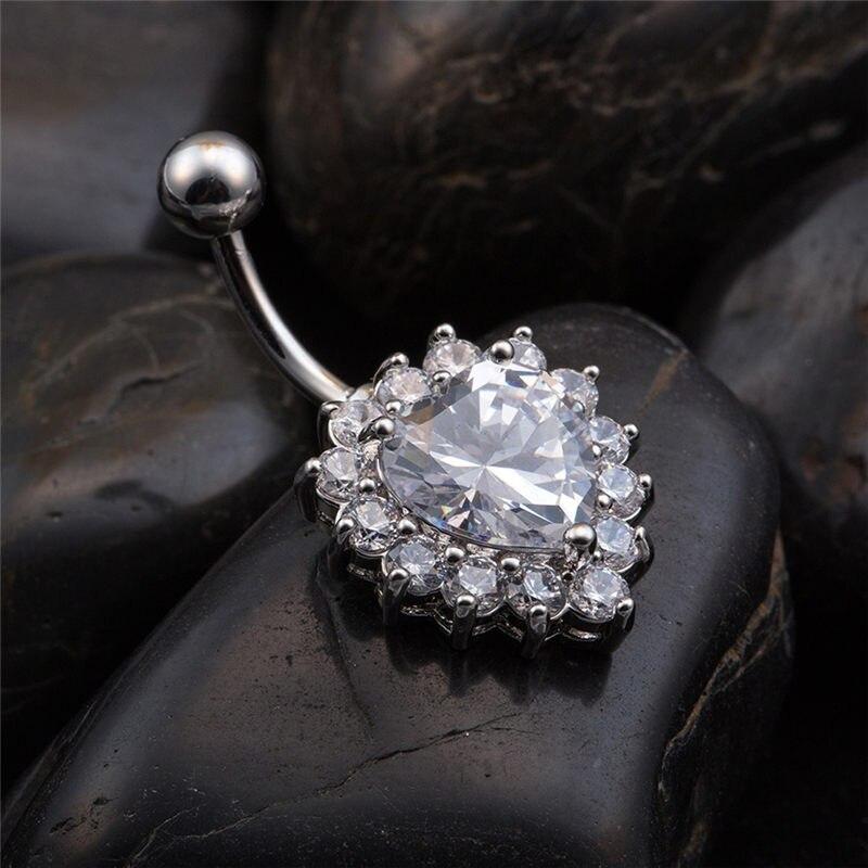 Love Belly Ring Body Piercing Jewelry crystal Navel Belly Piercing Ombligo Nombril Percing Navel Belly Rings