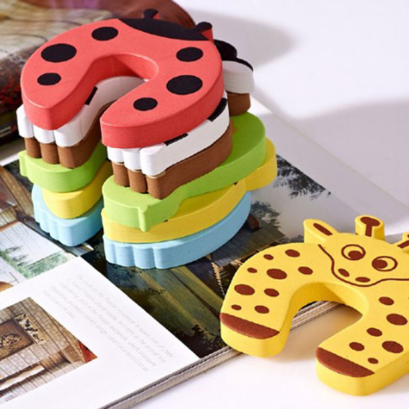 6pcs/pack Baby Kids Safety Door Stopper Carton Animal Baby Protecting Product Children Safe Door Stop Holder Door Baby Security