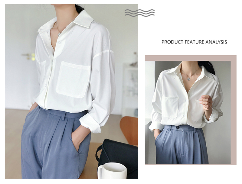 OL Style White Shirts for Women Turn-down Collar Pockets Women Blouse Tops Elegant Workwear Female Tops blusas femme 19 Autumn 4