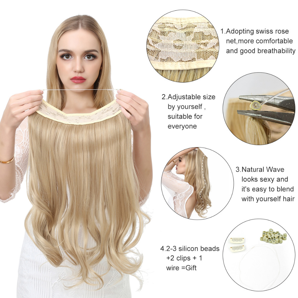 """14"""" 16"""" 18"""" 120g Wave Halo Hair Extensions Invisible Ombre Bayalage Synthetic Natural Flip Hidden Secret Wire Crown Grey Pink 1"""