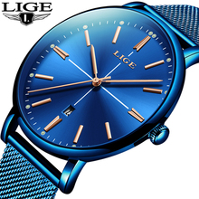 Relogio Masculino LIGE New Men Watches 2019 Luxury Brand Ultra Thin Date Clock Male Mesh Strap Casual Sports Quartz