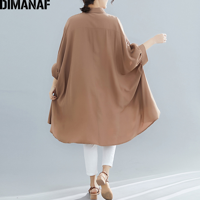Plus Size Women Blouse Tunic Solid  color Loose Casual  5