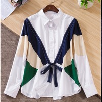 Color block bow ribbons personalized long sleeve shirt blouse 54511 LH