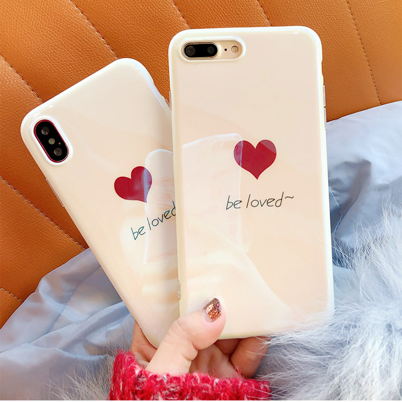 Hehan Simple Blu-ray White Love For iphone7plus Mobile Shell Laser For iPhone8/6s/X Cover Soft and Cute