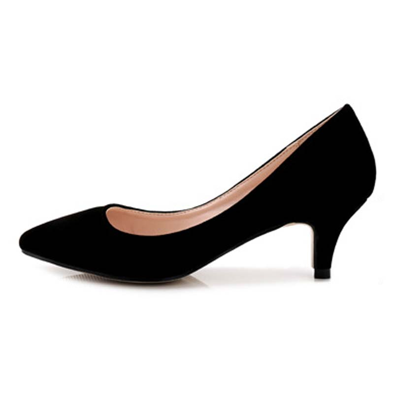 Sapato Feminino Fashion Pointed Toe Women Pumps Comfortable Med Heels Office Ladies Party Dress Single Shoes Big Size 35-43 44 guvoosm ladies med heels pumps women black casual sapato feminino rubber slip on shoes woman round toe big small size 31 43