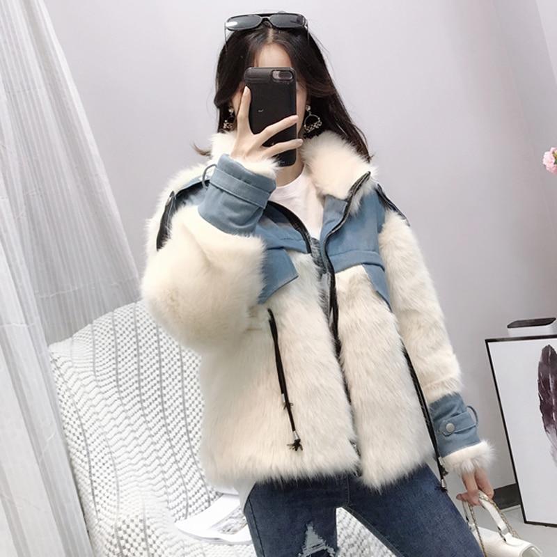 Artificielle Style Renard Fourrure Large Roulé Cintrée Manteau Nouveau De Femelle Manteaux Zipper Coréen Blanc D'hiver Col Épaissir Femmes RdOHqnUtR
