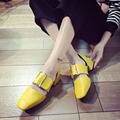 2017 Spring Autumn Summer Women High-heeled shoes Square-toe Casual Novelty Nude shoes Black Yellow and Red colors