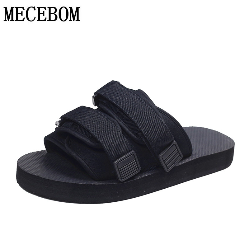 2019 Summer Men Slippers Black Canvas Casual Men Shoes Hook&loop Beach Lovers Slippers Summer Flip Flops Size 35-46 036M