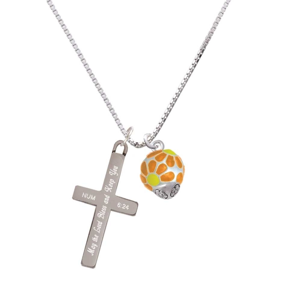 купить Translucent Hot Orange Flower Petal Pattern Spinner - Bless and Keep You - Cross Necklace по цене 3496 рублей