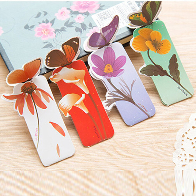 Free Shipping New 50pcs Bookmarks For Books Paper Stationery Office School Home Supplies Elegant Fashion Butterfly