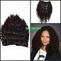 Nueva llegada afro rizado rizado brasileño de la virgen del pelo humano clip En El cabello humano extension7pcs/set color negro clip en la extensión del pelo