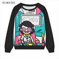 Hiawatha Mulheres Harajuku Digital Preto Impresso Hoodies Moda Camisolas Caráter Camisa Feminina Com Capuz Solto Pullovers WY0786