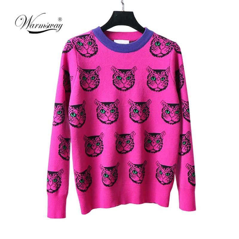 하라주쿠 패션 여성 스웨터 따뜻한 만화 고양이 자카드 고품질 두 사이즈 겨울 여성 캐주얼 풀오버 니트 톱 C-192