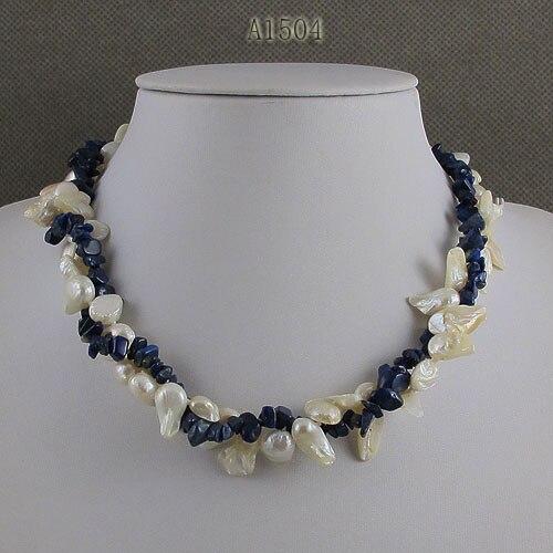 Bijouterie perles uniques, Lapis bleu couleur blanche Baroque véritable collier de perles d'eau douce, charmant bijoux cadeau femmes