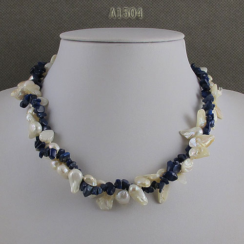 Unique Pearls jewellery Store,Blue Lapis White Color Baroque Real Freshwater Pearl Necklace,Charming Women Gift Jewelry