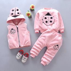 Image 3 - 2019 winter baby Clothing Sets ladybug cotton Christmas Snowsuit Thicken Warm Sweatshirt Suit for girl boy 3pcs/set Kids Clothes