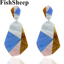 Statement 2018 ZA Big Acrylic Multi Color Geometric Drop Earrings For Women Exaggerated Large Irregular Pendant Earrings Jewelry