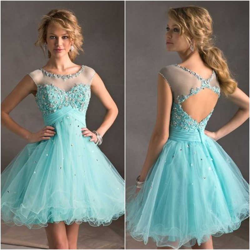 New Arrival Short Prom Dresses 2019 Turquoise Color Beaded Crystals Sheer Backless Tulle A-Line Vestido De Festa Curto De Luxo