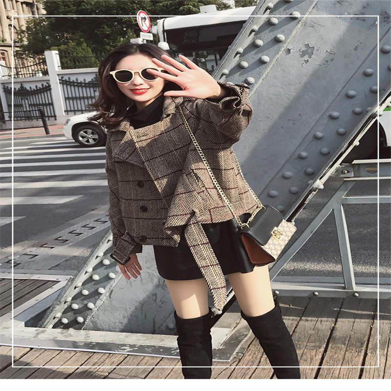 coréen De Longues Boutonnage Lâche Picture Paragraphe Printemps À D286 Femelle Laine Treillis Veste Manches Double 2018 Manteau Femmes Courte Nouvelle I7gyfvmYb6