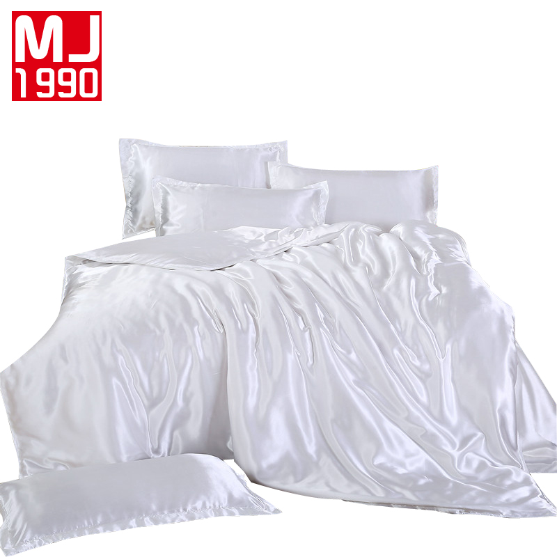 Creative Bedding Outlet Silk Bedding Set Duvet White Pure Color Bed Cover Set King Sizes Home Textiles 3/4pcs Luxury Kit Duvet Cover Set Ideal Gift For All Occasions Bedding