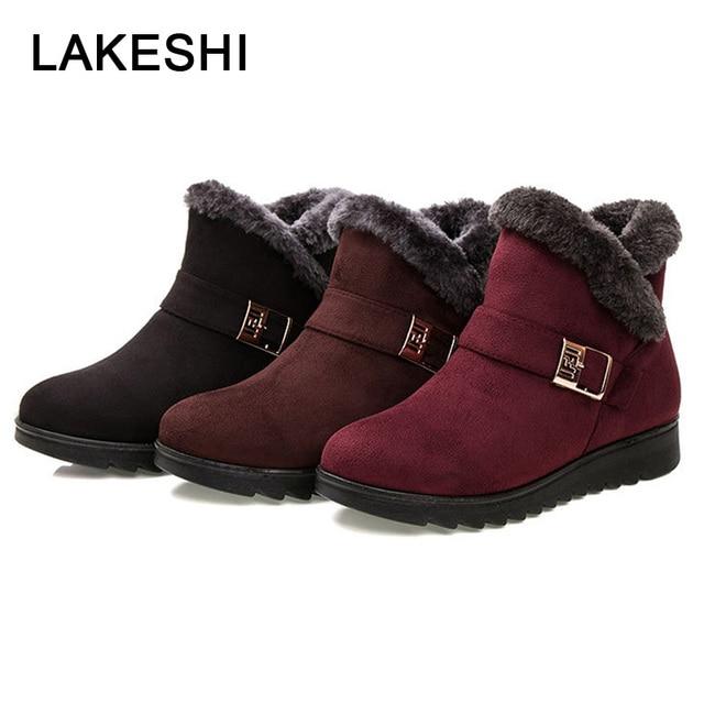 Wedge รองเท้าผู้หญิงรองเท้าบู๊ตหิมะฤดูหนาวรองเท้าข้อเท้ารองเท้าผู้หญิงวัยกลางคนรองเท้าหญิง Botas Mujer รองเท้าผู้หญิง