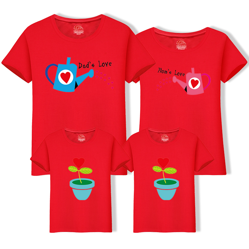 HTB1UlLKfS8YBeNkSnb4q6yevFXaq - Matching Family Clothing 1 piece Family Cultivate Love Summer Short-sleeve T-shirt Outfits For Mother Daughter And Father Son