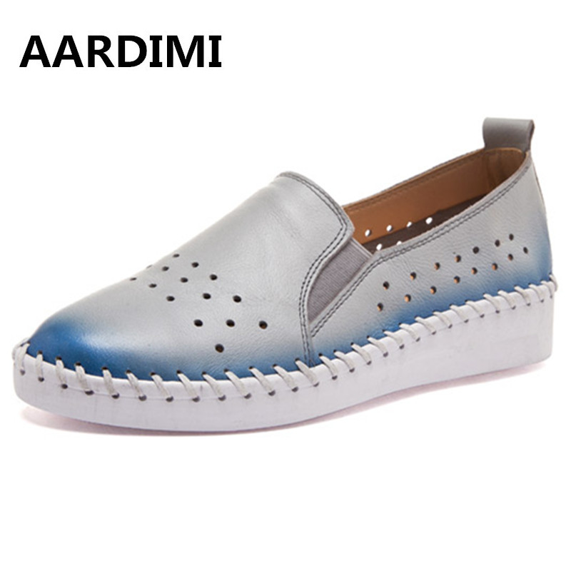 New Summer women loafers casual women shoes genuine leather top quality cut-outs mixed colors cow leather flat shoes woman
