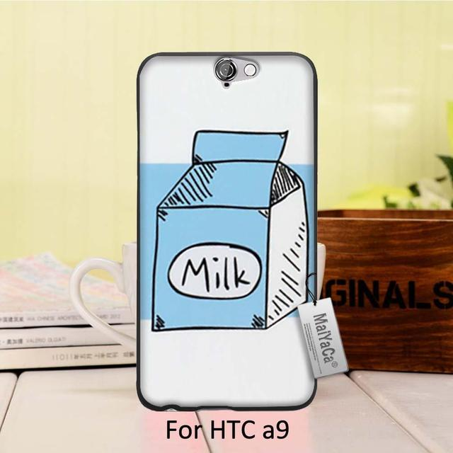 competitive price c2ca4 ea890 US $1.83 13% OFF|MaiYaCa Printing Drawing Black phone Cover For HTC One A9  case Fashion Cute Korea Cow Milk Bottle-in Fitted Cases from Cellphones &  ...