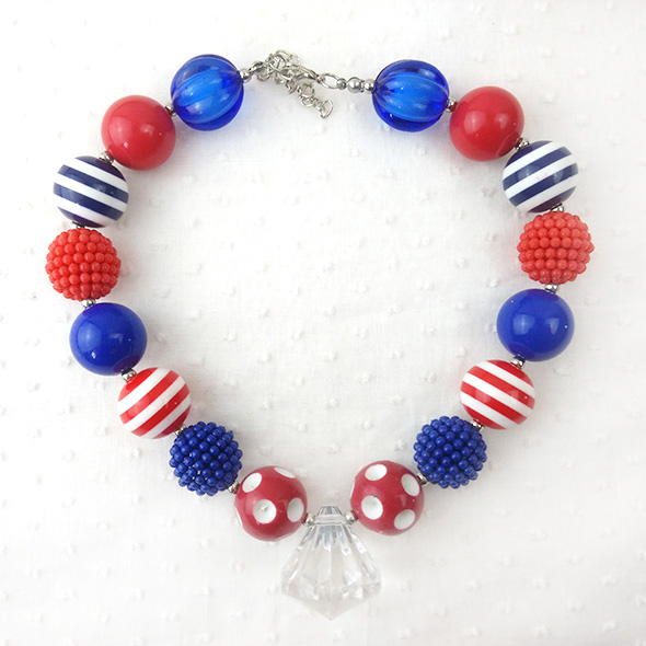 4th July New Design Chunky Plastic Handmade Beaded Stripe Bow Bubble Gum Kids Necklace