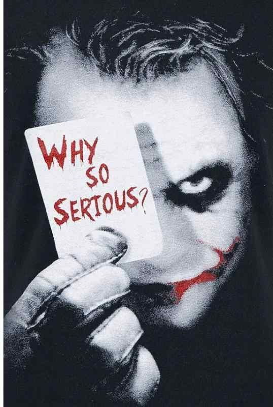 """Футболка Бэтмен Джокер из """"Темного рыцаря"""" Почему так серьезно? Мужской свитер официальный DC"""