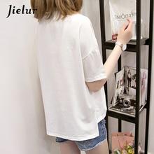 Jielur 2018 Summer Cute Smiley Embroidery T-shirt Preppy Style Short Sleeve Tops Kawaii Loose M-XXL 5 Colors Women's T-shirts