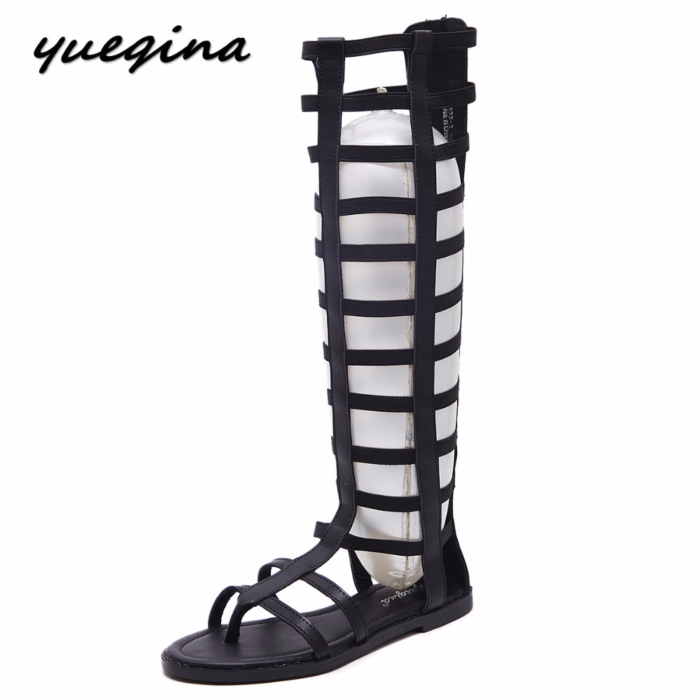 Yueqina new women knee high sexy gladiator sandals shoes woman flip flop cut-outs zipper flat rome sandals zipper size 35-40 2015 new deluxe brand 100% high quality flat summer women knee high gladiator sandals genuine leather cut outs cover heel shoes
