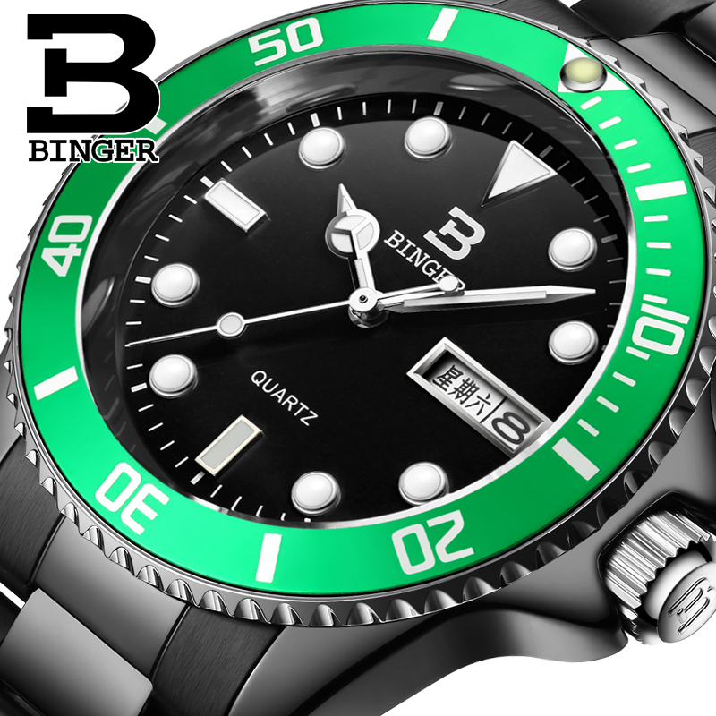 Genuine Luxury BINGER Brand Men full steel double calendar waterproof luminous quartz male fashion watch цена и фото