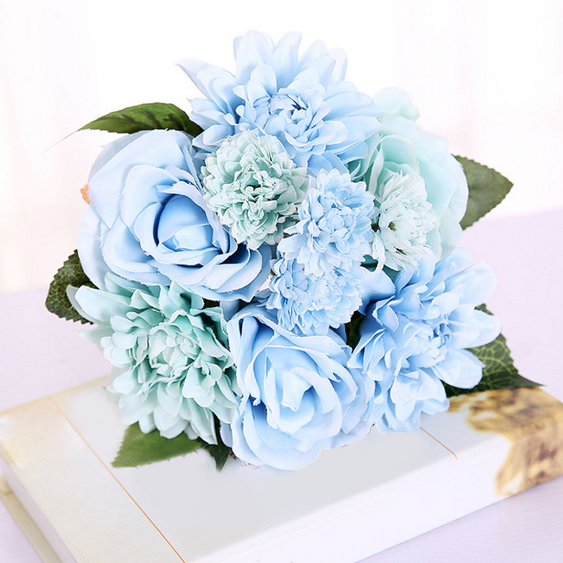 Fall Vivid Fake Leaf Wedding Flower Bridal Bouquets