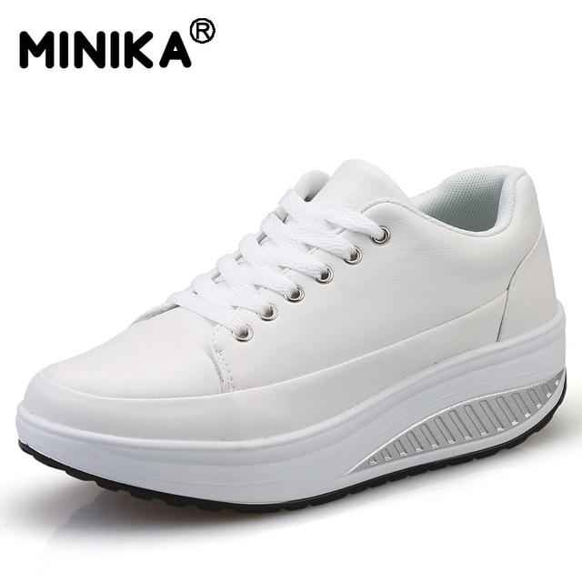 0f893f1c7 Minika Tenis Feminino Mulheres Casual Sapatos de Couro Cunha Plataforma Balanço  Respirável Sapatos de Caminhada Leve