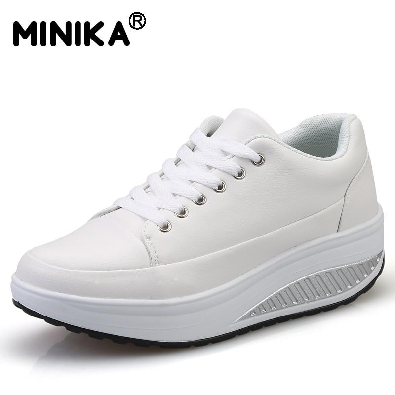 Minika Tenis Feminino Women Casual Shoes Leather Wedge Platform Swing Shoes Breathable Lightweight Walking Superstar Shoes