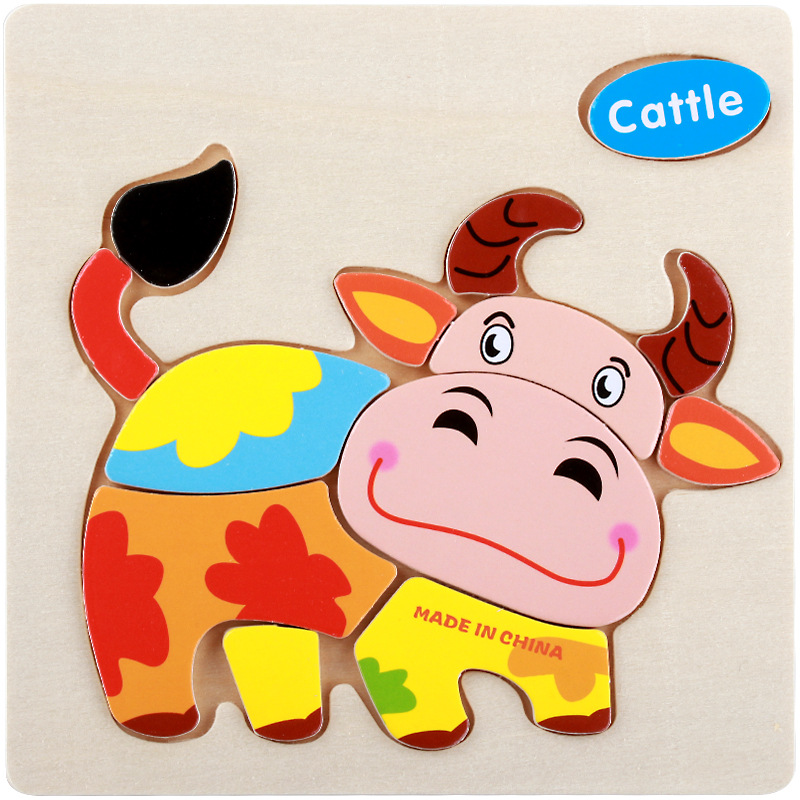 Puzzles Professional Sale Stereo Cartoon Animal Wooden 3d Sale Cattle Toys For Children Baby Puzzles Educational Toy Classic Model Figure Toys Toys & Hobbies