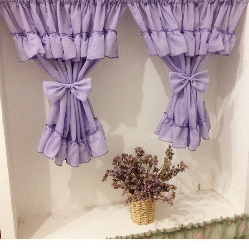 Nice Curtains Purple White Door Curtains Tulle Short Curtain For Kitchen  Window Voile Curtain With Tieback 2 Layers Home Textile In Curtains From  Home ...