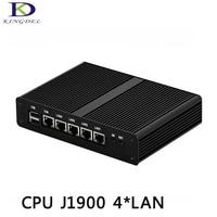4 порта LAN мини ПК J1900 без вентилятора, микро ПК 4 ядра 1080 P 12 в 1 * VGA Windows 7 маленький компьютер, ТВ коробка
