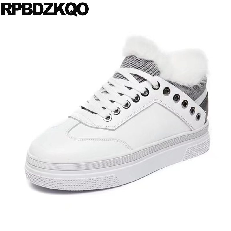 Sneakers Creepers Thick Sole White Muffin Fur Flats Platform Shoes Elevator China Walking Footwear Drop Shipping Latest