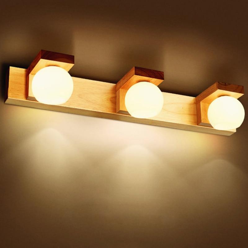 US $47.26 41% OFF|EICHE Modernen FÜHRTE Bad 3 * G4 Led lampe Spiegel  Leuchte Home Deco Schlafzimmer Nacht Holz Wandleuchter Lampe-in ...