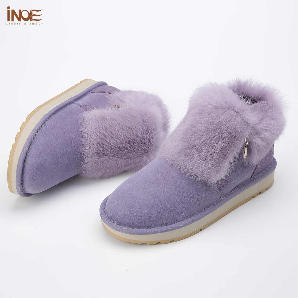 INOE thời trang chính hãng cow cô gái da thỏ lông ngắn mắt cá chân mùa đông tuyết khởi động với dây kéo cho giày nữ mùa đông miễn phí vận chuyển