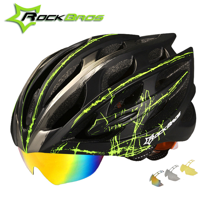 цена на ROCKBROS Cycling Helmet 2018 Integrally-molded Road Mountain Bike Helmet 32 Air Vents 3 Lens Bicycle Helmet Men Women Ciclismo