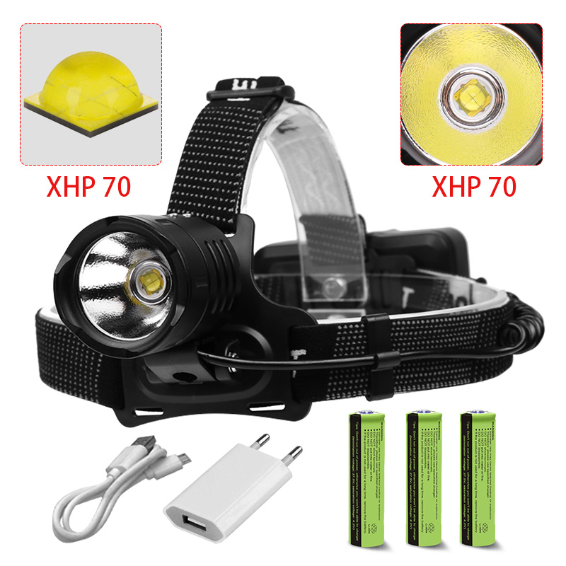 120000LM XHP50 LED Headlamp USB Rechargeable Headlight Aluminum Head Lamp Light